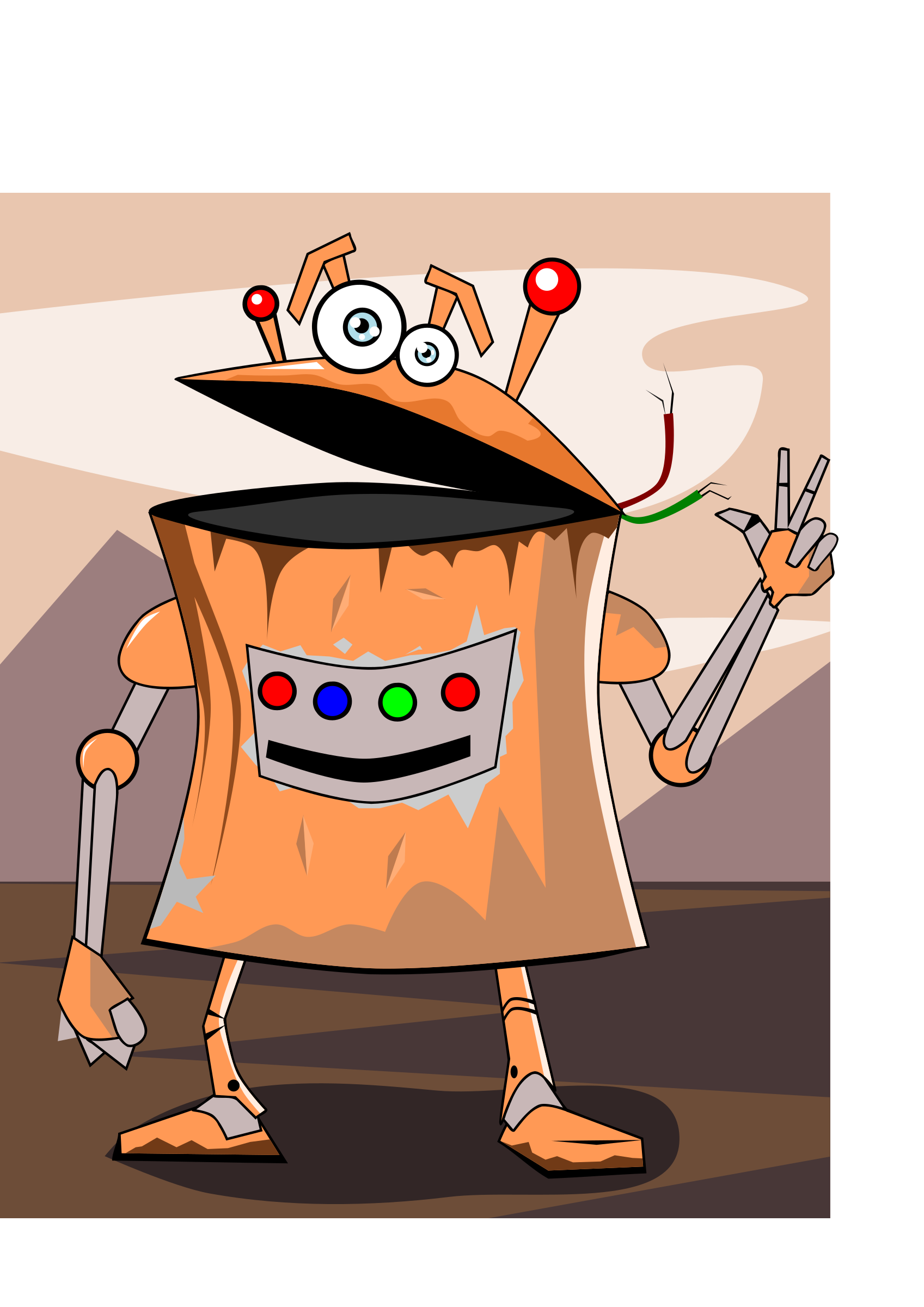 Geometry clipart cartoon. Rusty robot big image