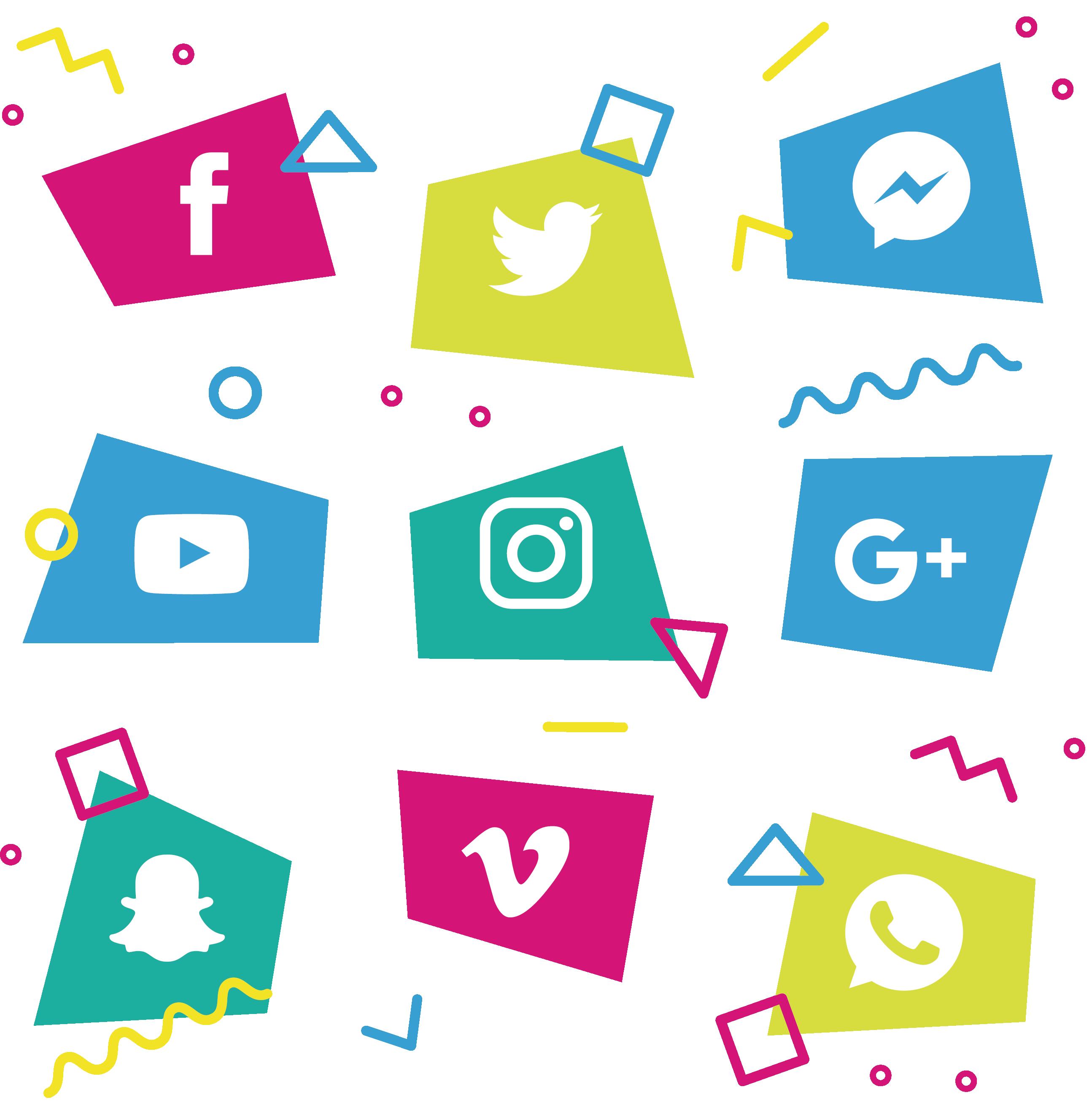 Geometry clipart color shape. Social media icon block