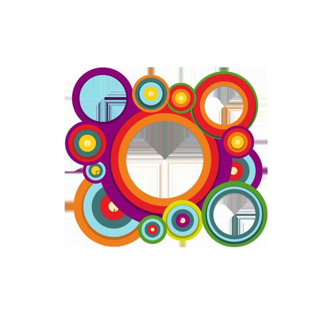 Circle multi colored border. Geometry clipart color shape