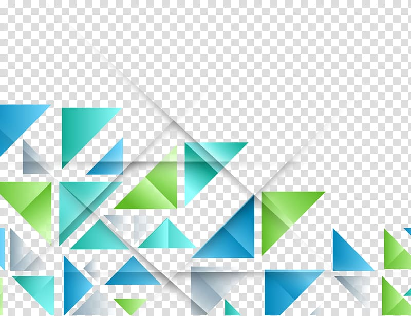 Blue and green triangle. Geometry clipart colorful shape