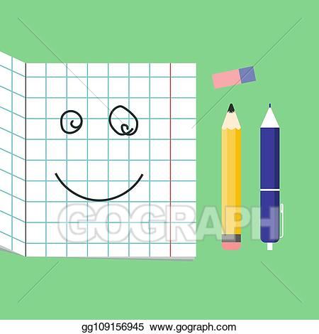 Geometry clipart cute. Vector smiling school supplies