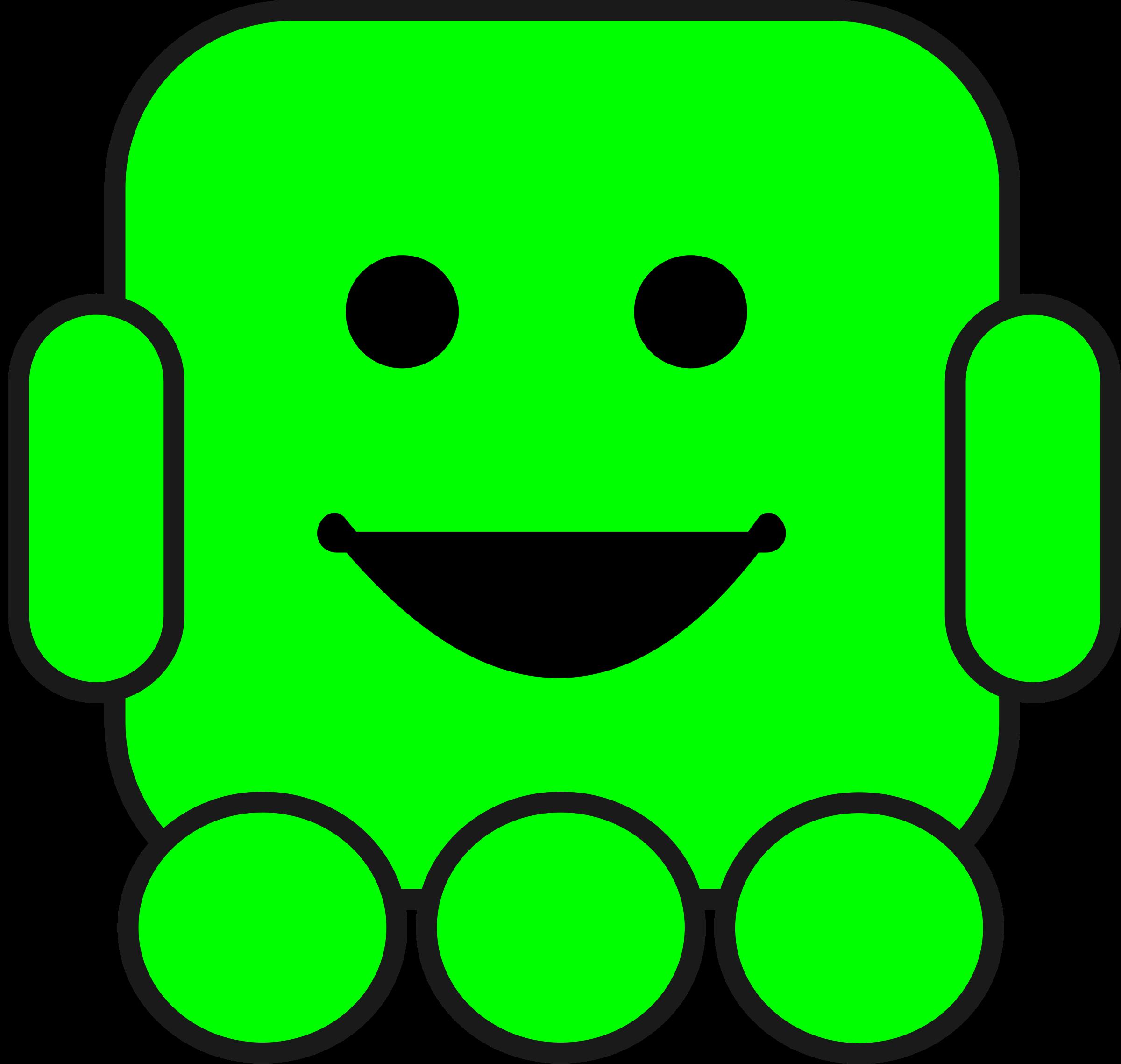 Friendly robot big image. Geometry clipart cute