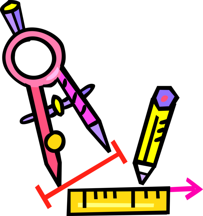 Geometry clipart instrument. Compass with ruler and