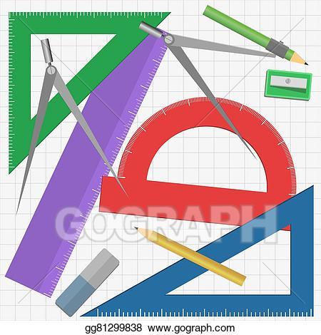 Vector instruments illustration . Geometry clipart instrument