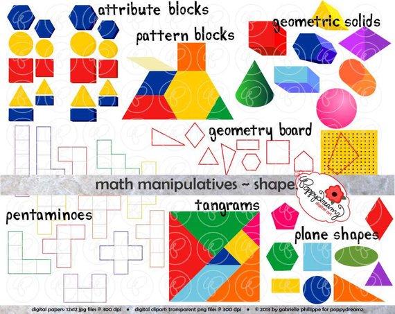 Manipulatives shapes set dpi. Geometry clipart math manipulative