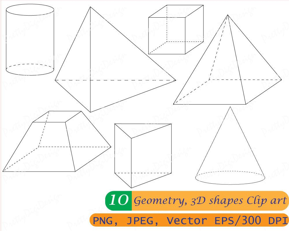 Geometry clipart math revision. Instant download d shapes