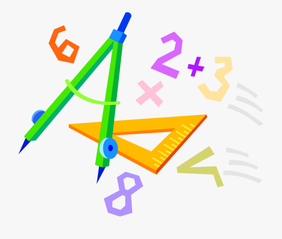 Geometry clipart math revision. Compass and numbers symbols