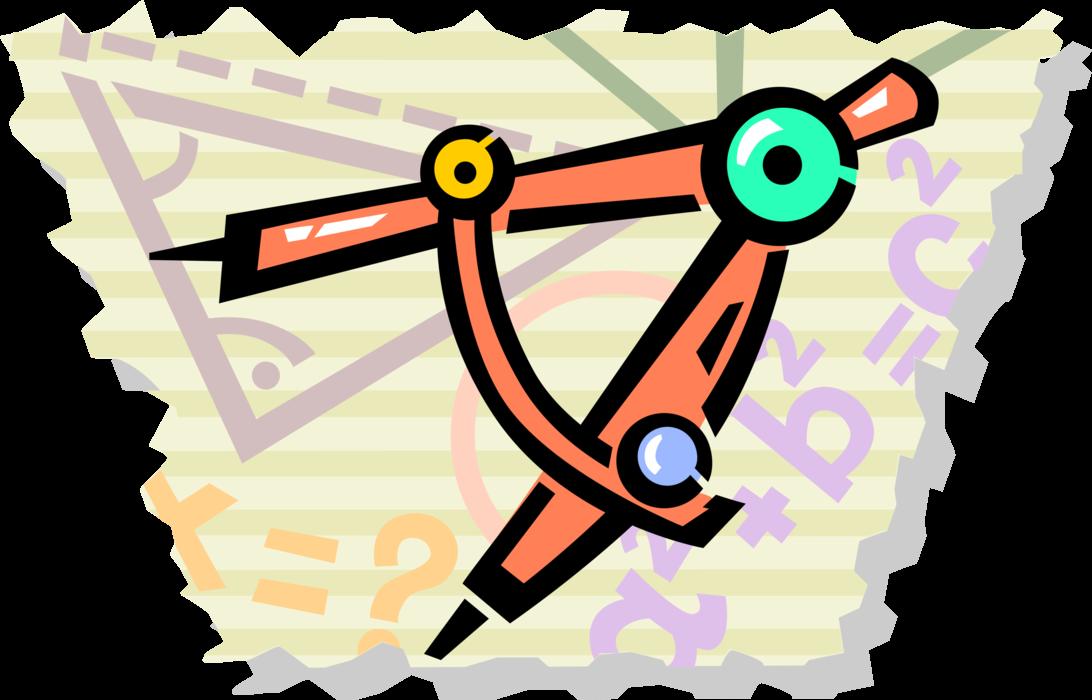 Compass measures and navigates. Geometry clipart measurement