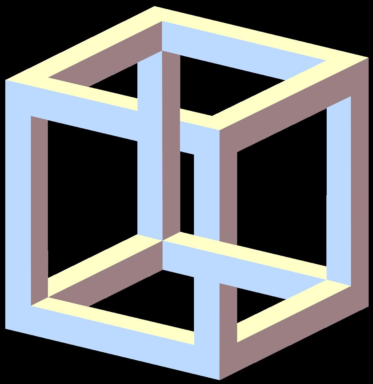 Magic clipart illusion. Impossible cube wikipedia illusions