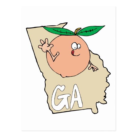 Ga map peach fruit. Georgia clipart cartoon