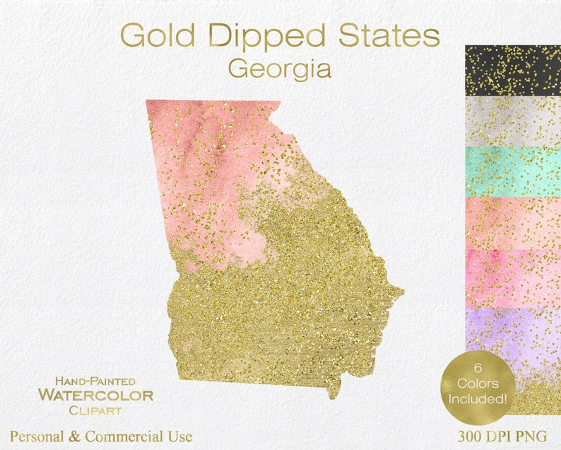 Georgia clipart shape. Watercolor gold commercial use
