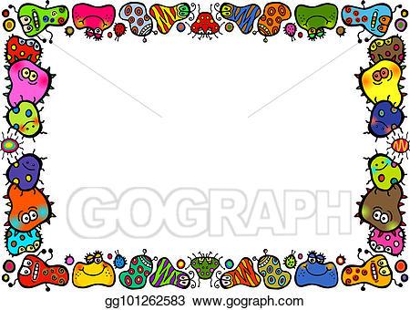 Germ clipart border. Drawing doodle cartoon bacteria