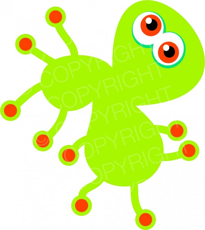 A cartoon green or. Germ clipart bug
