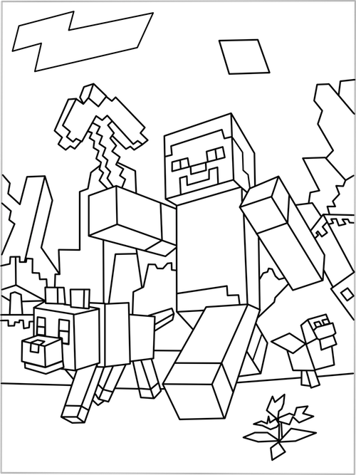 Germs clipart colouring page. Printable minecraft world coloring
