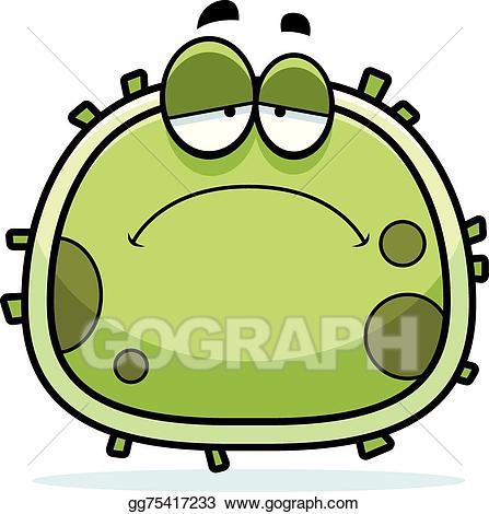 Vector illustration microbe stock. Germ clipart sad