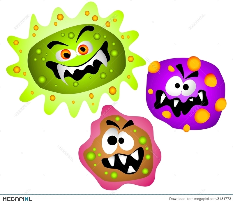 Germ clipart scared. Germs viruses bacteria illustration