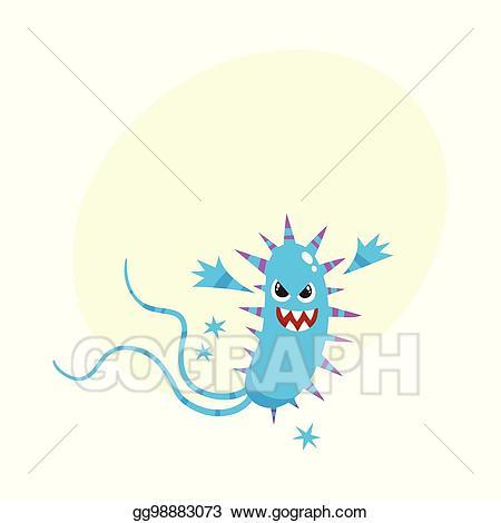 Vector art ugly virus. Germ clipart scared