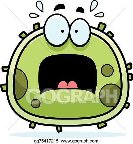Vector microbe illustration . Germ clipart scared