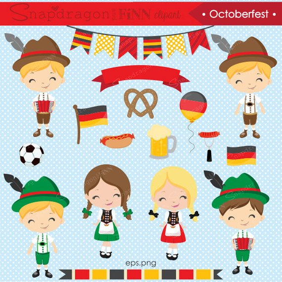 German clipart. Octoberfest kids cute graphics