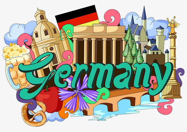 German clipart. Flag landmarks germany building