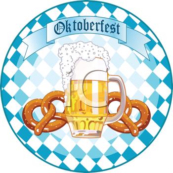 Oktoberfest beer and pretzels. German clipart bavarian pretzel