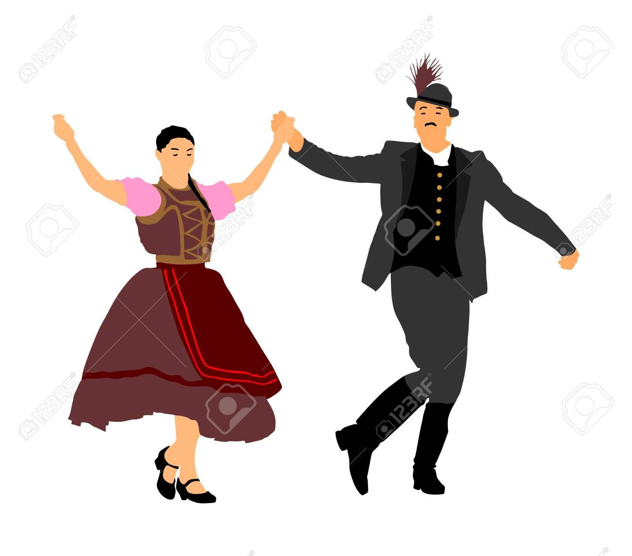 Male and female indian. Germany clipart dance german
