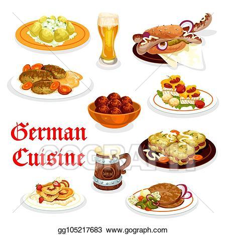 Vector art cuisine dinner. German clipart food