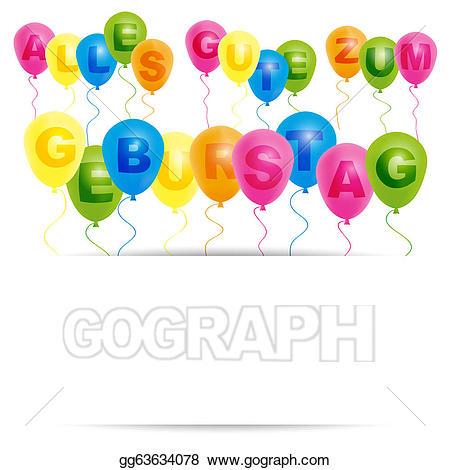 Vector art birthday card. German clipart happy
