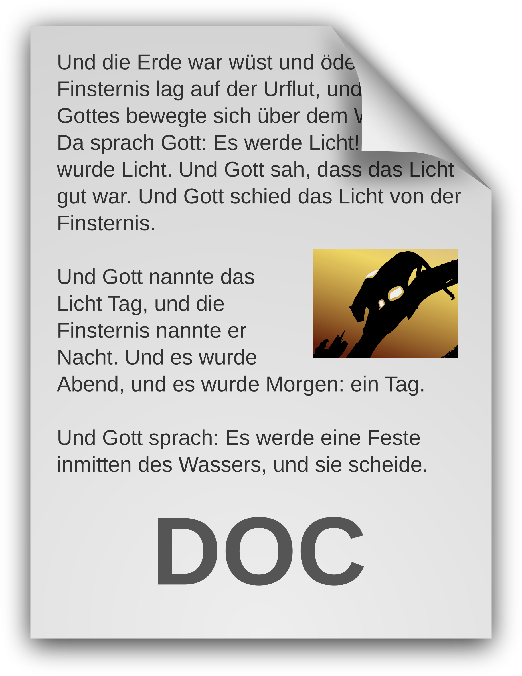 German clipart icon. Text document big image