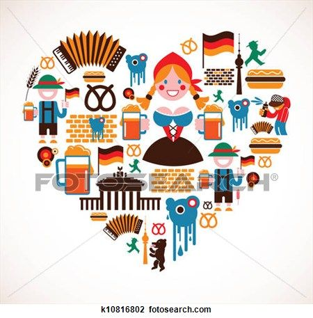 Heart shape with germany. German clipart icon