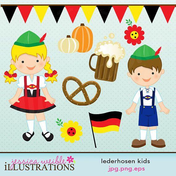 Lederhosen kids cute digital. German clipart thing german