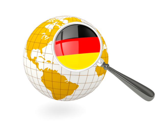 Magnified with globe illustration. German clipart world flag