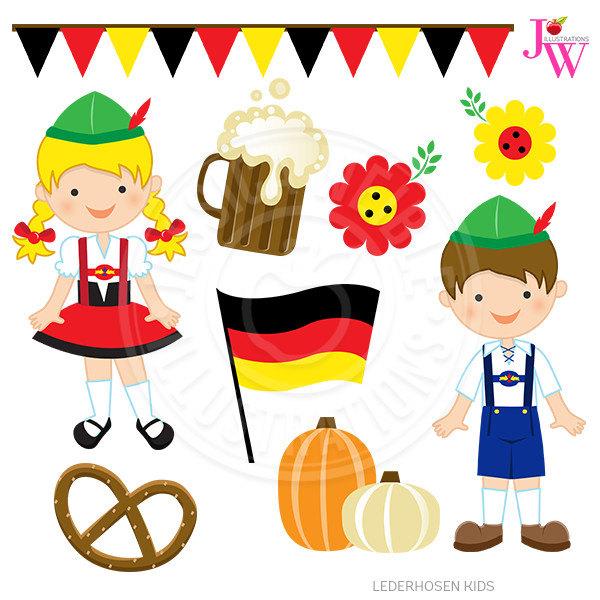 Germany clipart. Lederhosen kids cute digital