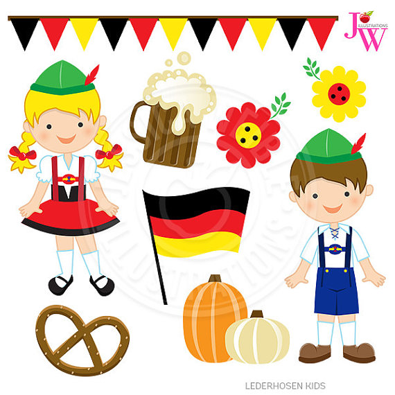 German clipart. Lederhosen kids cute digital