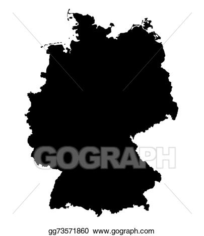Germany clipart black and white. Vector art map of
