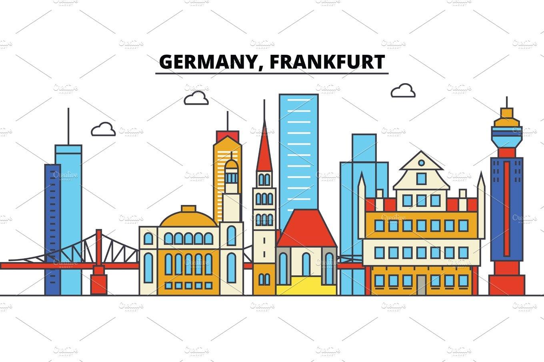 Frankfurt city skyline architecture. Germany clipart landscape germany
