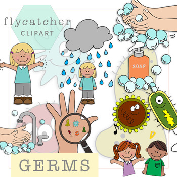 Hand washing and by. Germs clipart