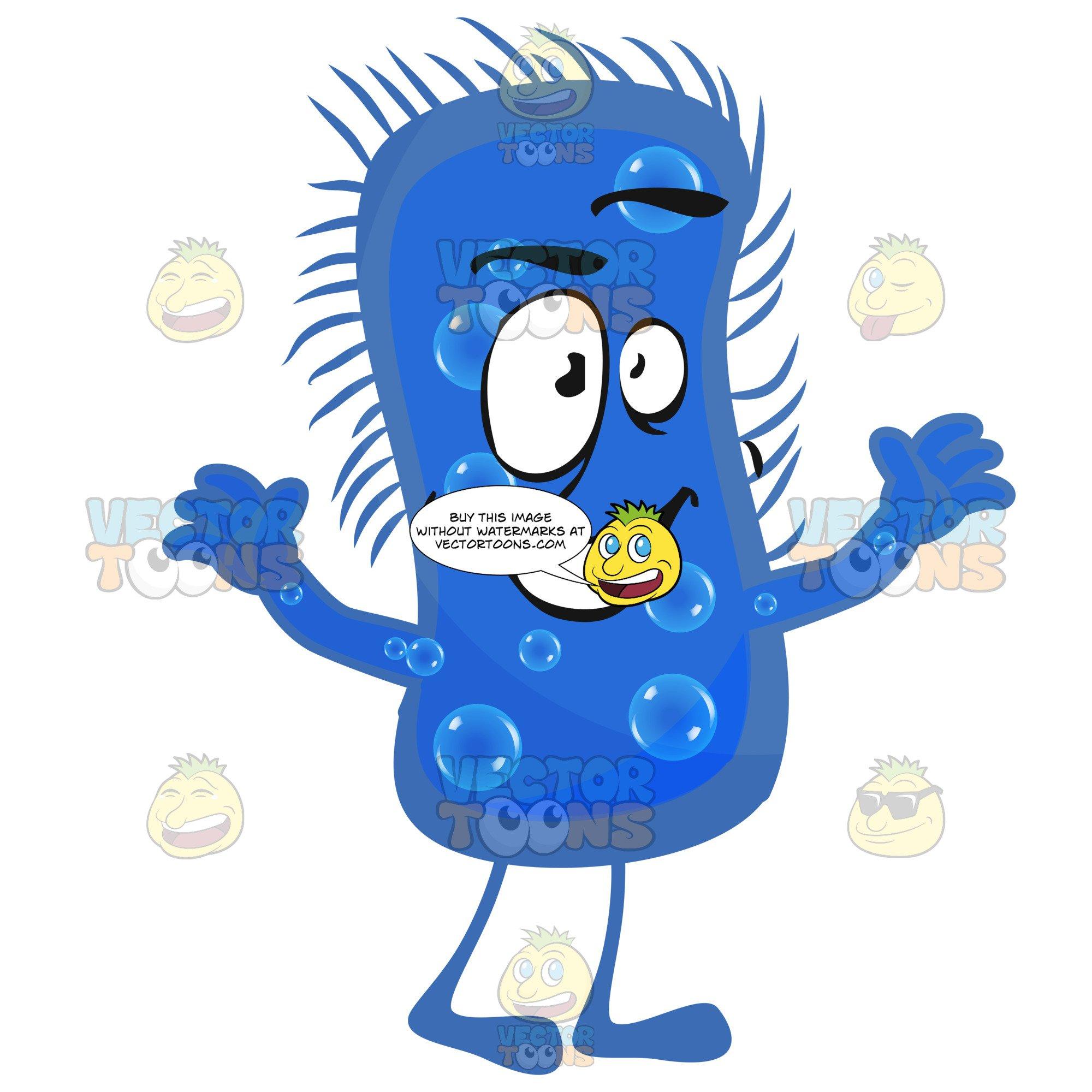 Peanut shaped blue germ. Germs clipart bacteria