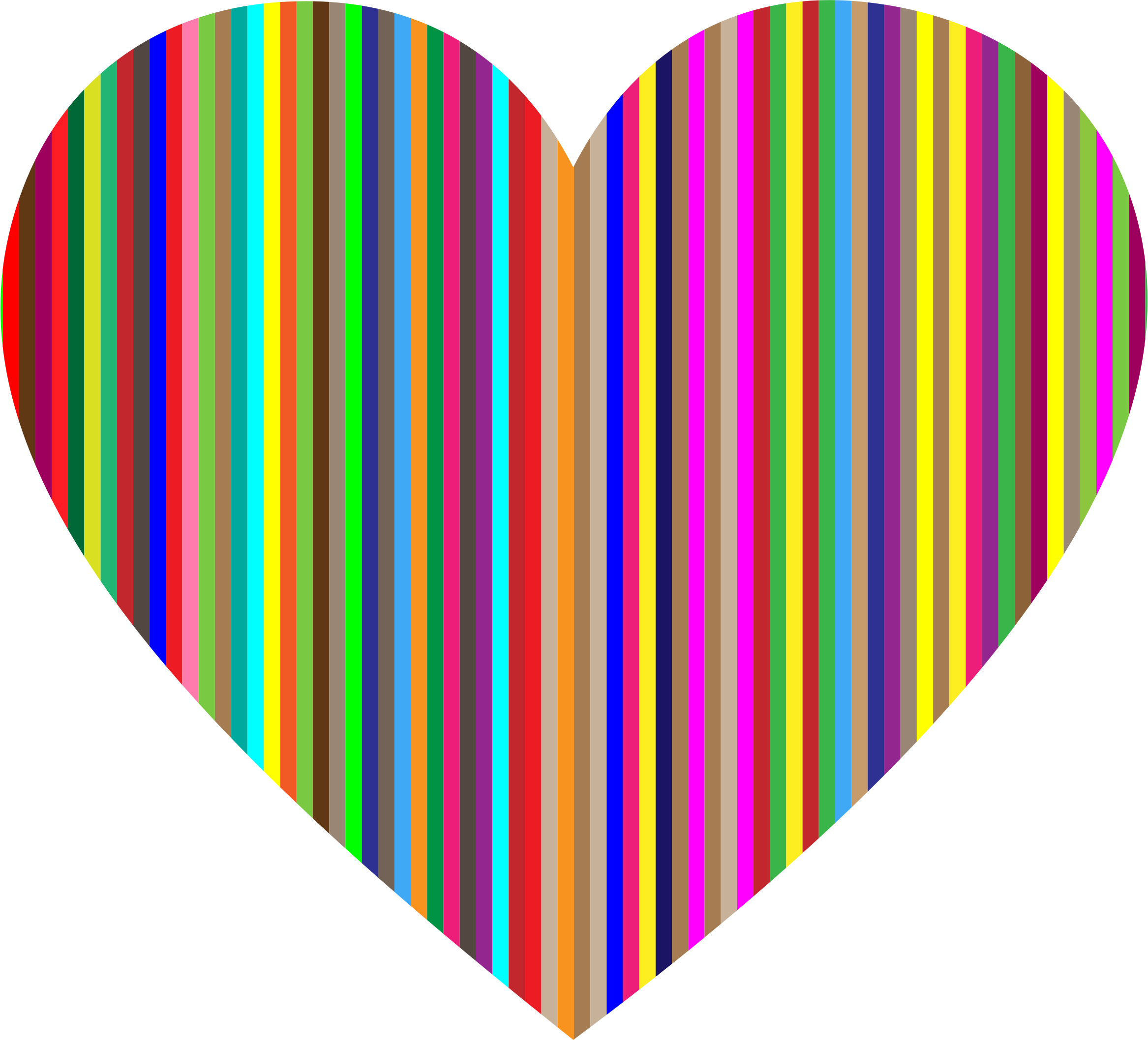 Colorful vertical heart icons. Number 1 clipart striped