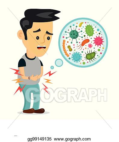 Hungry clipart stomache. Vector art young sick