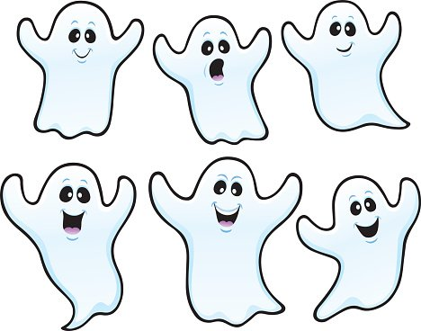 Six spooky characters premium. Ghost clipart character