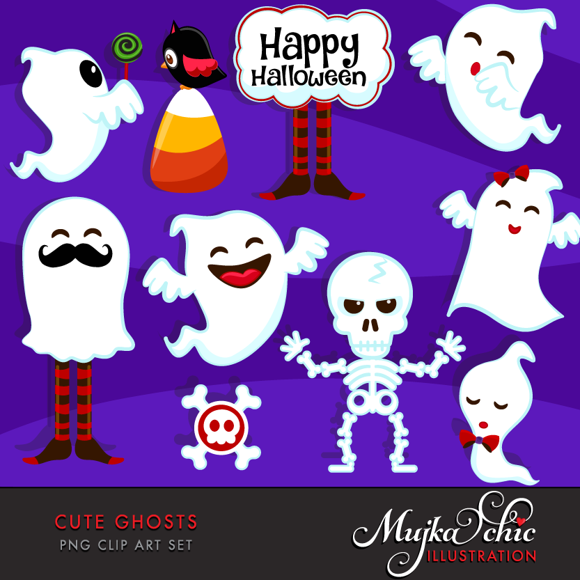 Ghost clipart printable. Halloween cute ghosts