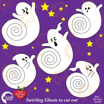 Halloween ghosts swirling amb. Ghost clipart printable