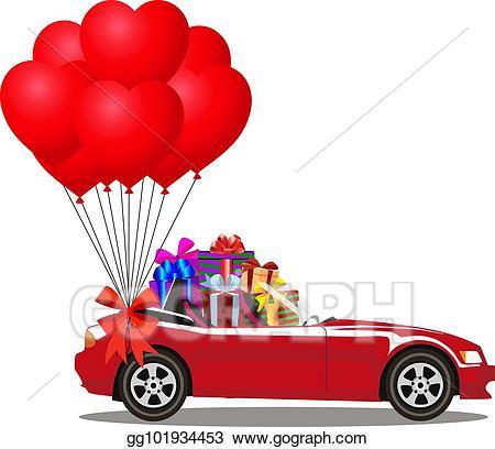 Vector art red cartoon. Gift clipart bunch