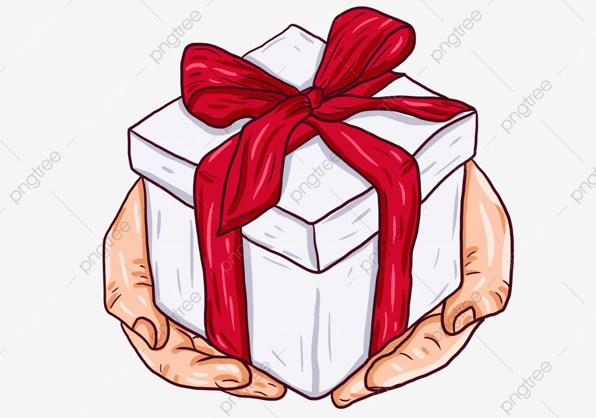 Gifts clipart hand holding. Painted cartoon gift lovely