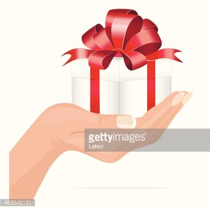 Gifts clipart hand holding. Gift box premium clipartlogo