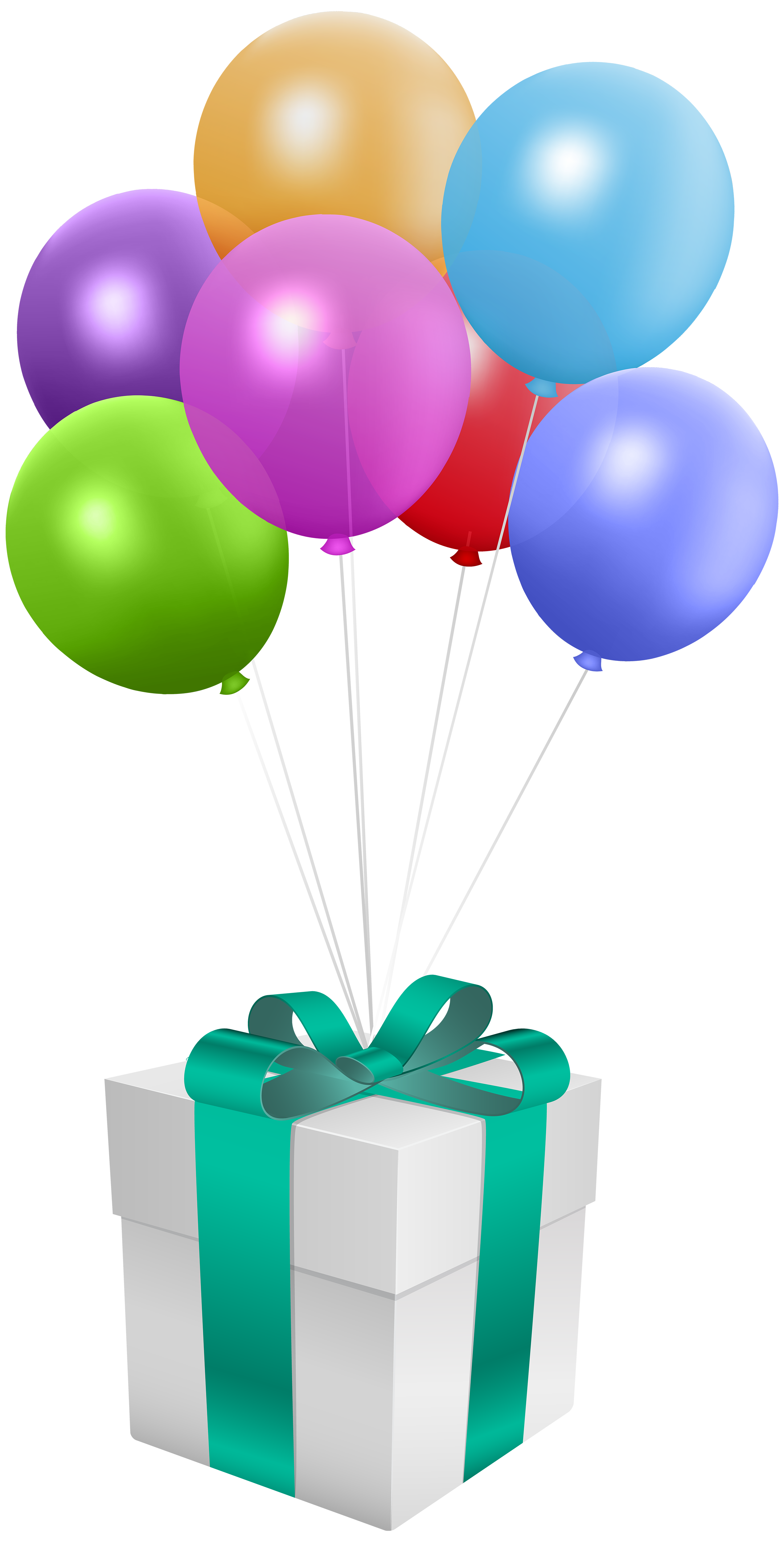 Gift with balloons transparent. Thanks clipart balloon