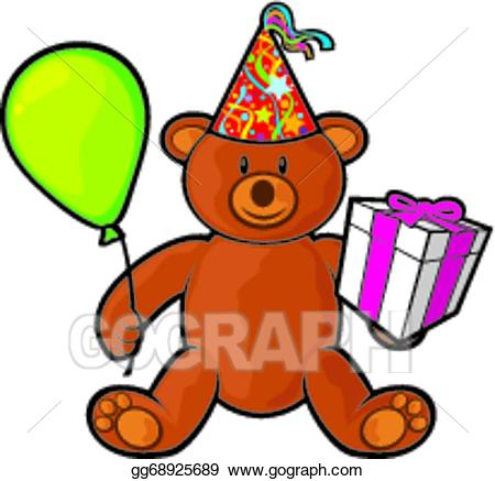 Vector stock teddy bear. Gift clipart hat box