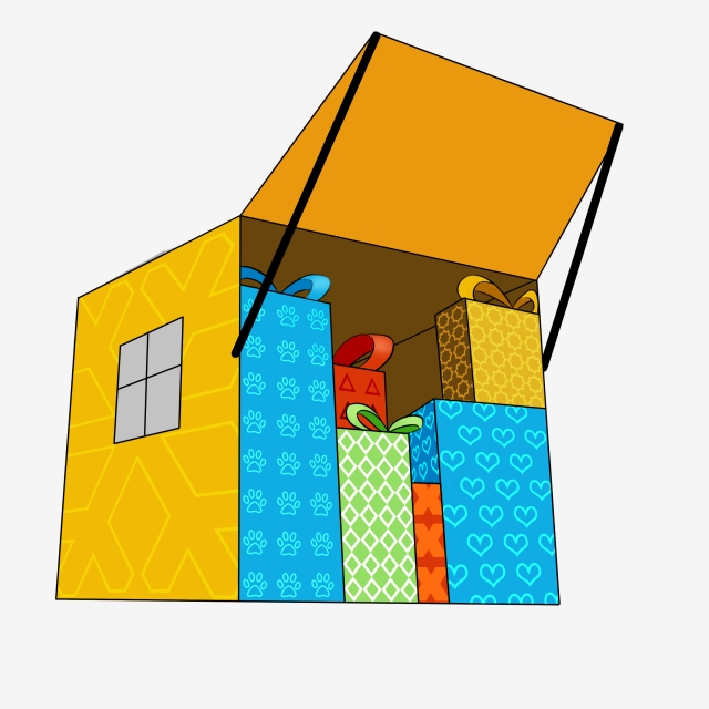 Gift clipart house png. Small full of boxes