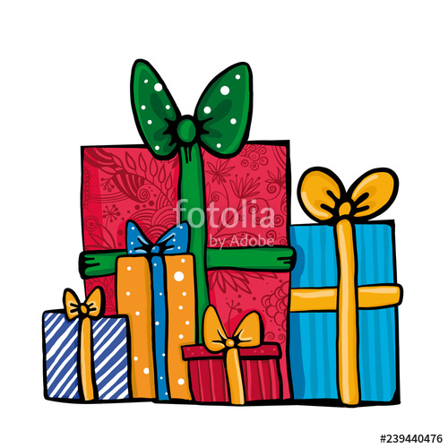 Gift clipart lot presents. Big pile of colorful